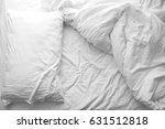 messy bed. white pillow with... | Shutterstock . vector #631512818