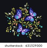 beautiful embroidery floral... | Shutterstock .eps vector #631529300
