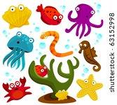 cartoon sea creatures   Shutterstock .eps vector #63152998