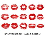 print of red lips. vector... | Shutterstock .eps vector #631552850