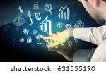 man touching technology smart... | Shutterstock . vector #631555190