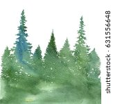 Watercolor Landscape With Fir...