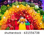 little girl with variety of... | Shutterstock . vector #631556738
