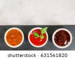 three kinds of red tomato sauce ... | Shutterstock . vector #631561820