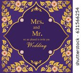 vintage invitation and wedding... | Shutterstock .eps vector #631566254