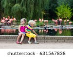 kids watch animals and birds at ... | Shutterstock . vector #631567838