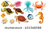 different kinds of sea animals... | Shutterstock .eps vector #631568588