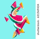 fresh sliced watermelon fruit... | Shutterstock .eps vector #631569434