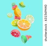 citrus fruits composition.... | Shutterstock .eps vector #631569440