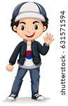 korean boy wearing cap and... | Shutterstock .eps vector #631571594
