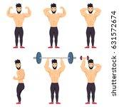 positive bodybuilder posing... | Shutterstock .eps vector #631572674