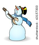 happy snowman singing and... | Shutterstock . vector #63157303
