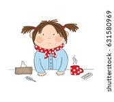 sick girl with flu standing... | Shutterstock . vector #631580969