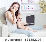 young mother holding a year old ... | Shutterstock . vector #631582109