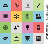 set of 16 editable school icons.... | Shutterstock .eps vector #631586630