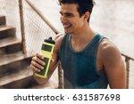 athlete resting after running... | Shutterstock . vector #631587698