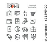 set of simple thin line icons ... | Shutterstock .eps vector #631595420