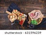 different bruschettes ...   Shutterstock . vector #631596239