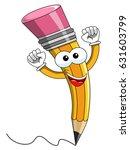 pencil mascot cartoon exulting... | Shutterstock .eps vector #631603799