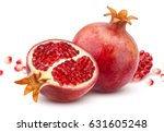 pomegranate isolated on white... | Shutterstock . vector #631605248