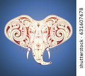 elephant tattoo with ethnic... | Shutterstock .eps vector #631607678