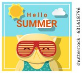 hello summer background with... | Shutterstock .eps vector #631618796