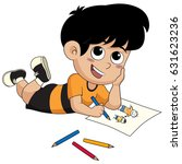kid drawing a pictures.vector...   Shutterstock .eps vector #631623236