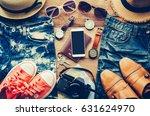 travel accessories costumes.... | Shutterstock . vector #631624970