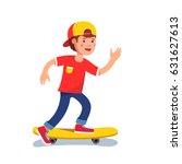 teen boy in baseball cap riding ... | Shutterstock .eps vector #631627613