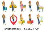 young caucasian sad female... | Shutterstock .eps vector #631627724