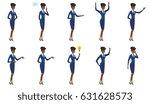 african american stewardess... | Shutterstock .eps vector #631628573