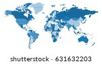 blue world map with the names... | Shutterstock .eps vector #631632203