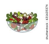 delicious fresh organ salad in... | Shutterstock .eps vector #631635374
