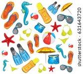 summer beach accessories vector ... | Shutterstock .eps vector #631643720