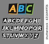 cool alphabet  retro alphabet ... | Shutterstock .eps vector #631644956