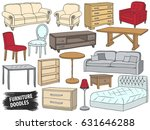 furniture doodles set. interior ... | Shutterstock .eps vector #631646288