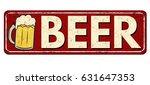 Beer Red Vintage Rusty Metal...
