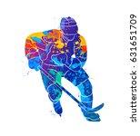 hockey player illustration | Shutterstock .eps vector #631651709