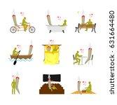 lover joint or spliff set.... | Shutterstock . vector #631664480