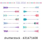 set of arrows isolated on white ... | Shutterstock . vector #631671608