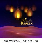 lanterns in the desert at night ... | Shutterstock .eps vector #631675070