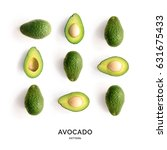 seamless pattern with avocado.... | Shutterstock . vector #631675433