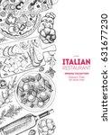 italian cuisine top view poster....   Shutterstock .eps vector #631677230