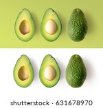 avocado on the green and white... | Shutterstock . vector #631678970