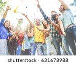 happy friends enjoying party...   Shutterstock . vector #631678988