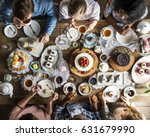 people celebrate birthday party ... | Shutterstock . vector #631679990