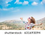 happy woman with open hands... | Shutterstock . vector #631693094