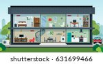the house with the interior has ... | Shutterstock .eps vector #631699466