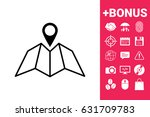 map icon with pin pointer | Shutterstock .eps vector #631709783