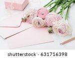envelope or letter  paper card  ... | Shutterstock . vector #631716398